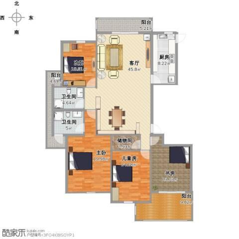香格里拉花园4室1厅2卫1厨196.00㎡户型图