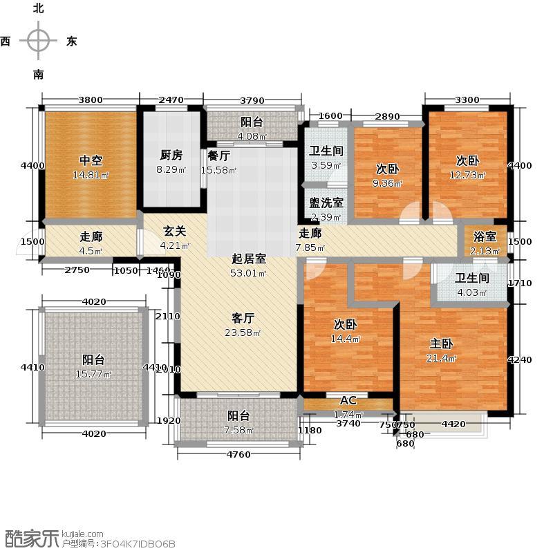 华邦繁华里170.00㎡华邦繁华里5#四室两厅两卫户型4室2厅2卫
