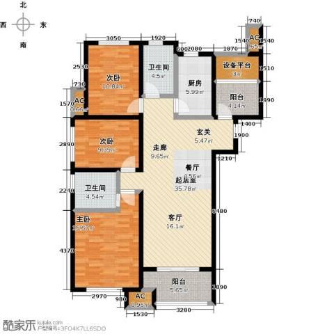 保利香槟国际3室0厅2卫1厨132.00㎡户型图