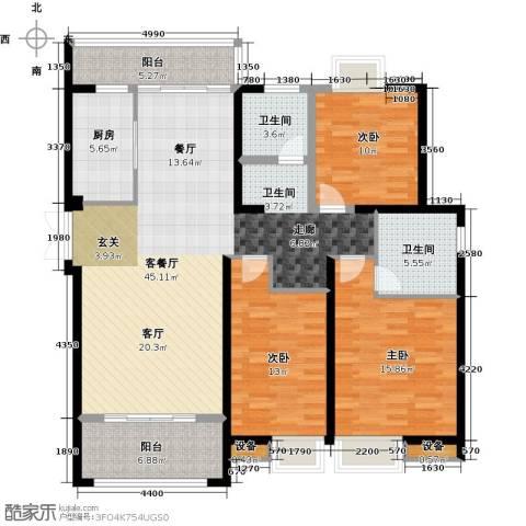 扬州国际公馆3室1厅2卫1厨160.00㎡户型图