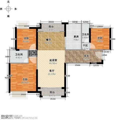 中海锦城3室0厅2卫1厨120.00㎡户型图