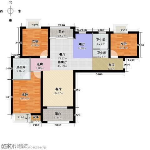 扬州国际公馆3室1厅2卫0厨108.00㎡户型图