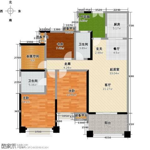 保利香槟国际3室0厅2卫1厨131.00㎡户型图