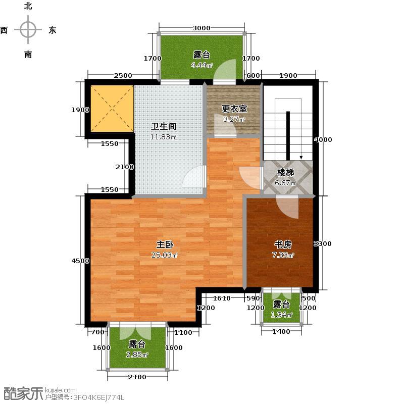 天山城61.15㎡洋房顶层阁楼赠送面积图户型2室1卫