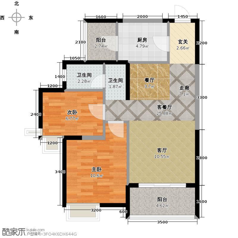 阳光100国际新城80.58㎡B2反内 两室两厅一卫户型2室2厅1卫