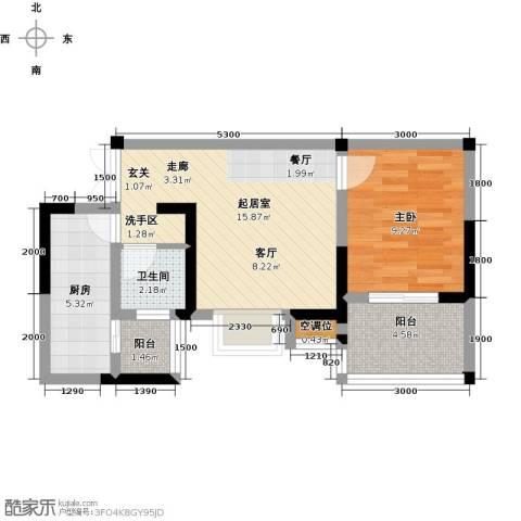 瑞麟国际新城1室0厅1卫1厨56.00㎡户型图