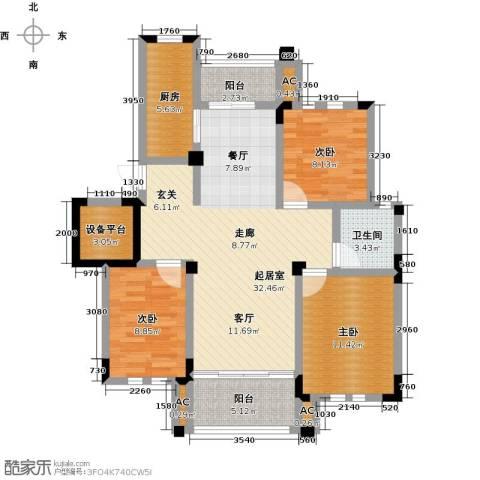 中港城世家3室0厅1卫1厨122.00㎡户型图