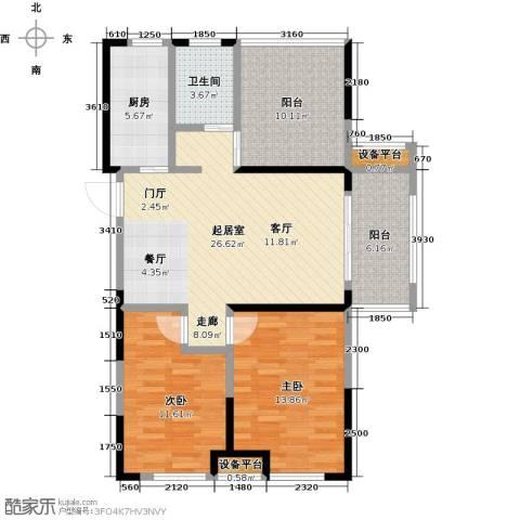 金辉・悦府2室0厅1卫1厨90.00㎡户型图