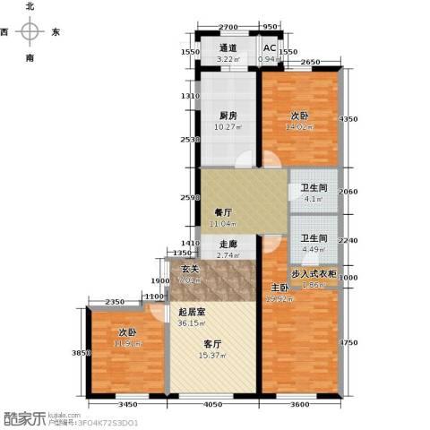 华鸿国际中心3室0厅2卫1厨148.00㎡户型图