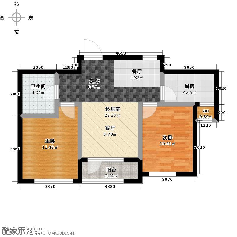 钻石湾82.00㎡二室二厅一卫户型2室2厅1卫