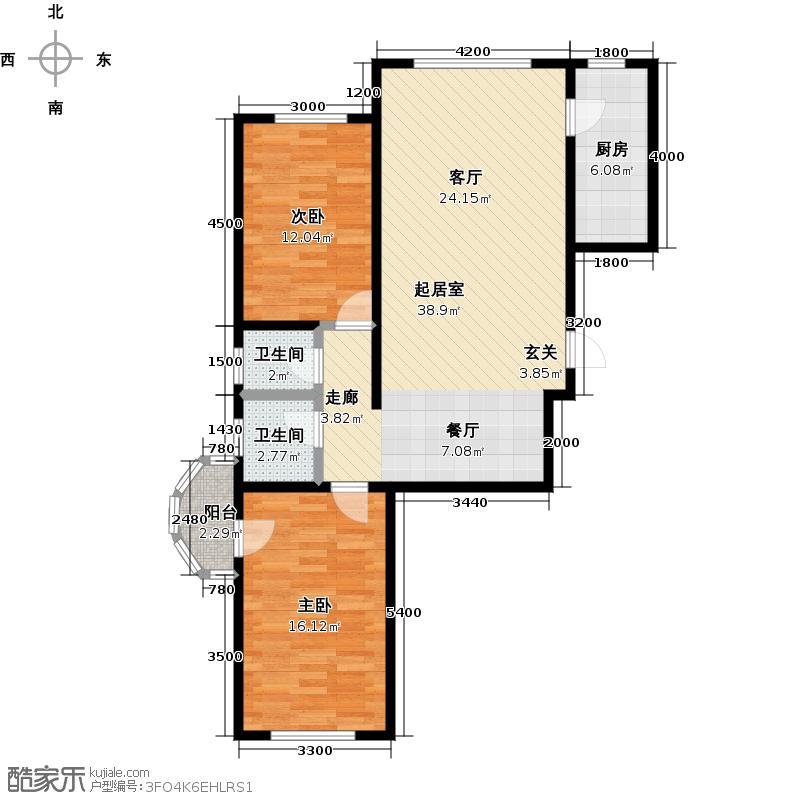 观澜国际105.18㎡2室2厅2卫户型2室2厅2卫CC