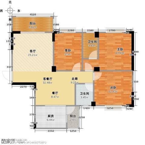 阳光花园3室1厅2卫1厨112.00㎡户型图