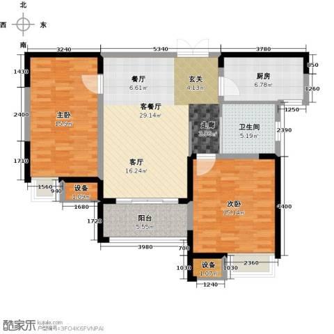 绿洲天逸城2室1厅1卫1厨91.00㎡户型图