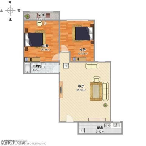 雅居园2室1厅1卫1厨107.00㎡户型图