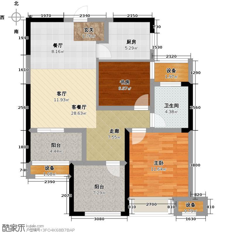 绿地香奈85.80㎡B户型风信子3房2厅1卫85.8户型3室2厅1卫