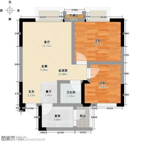 凯江新城2室0厅1卫1厨70.00㎡户型图