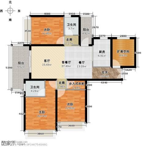扬州国际公馆3室1厅2卫1厨170.00㎡户型图