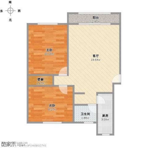 黄兴绿园2室1厅1卫1厨64.00㎡户型图