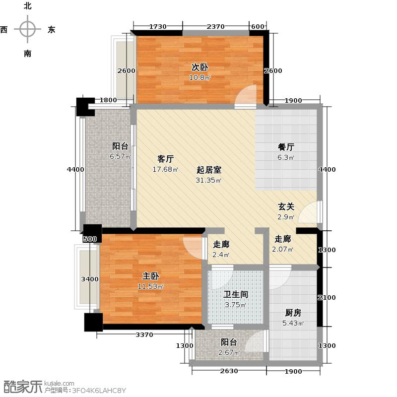 保利香槟国际83.00㎡9栋1单元03户型2室2厅1卫CC