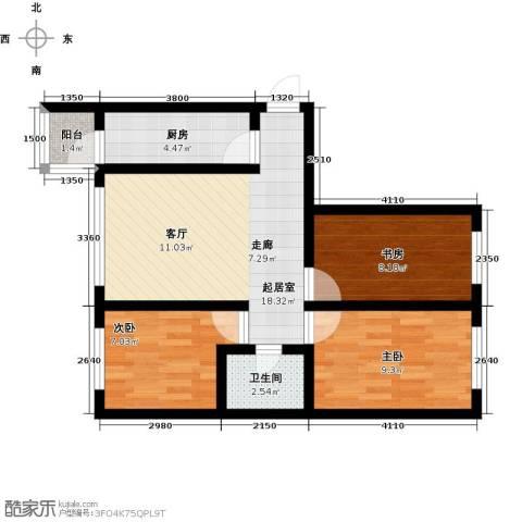 罗马公元3室0厅1卫1厨76.00㎡户型图