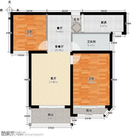 扬州国际公馆2室1厅1卫1厨98.00㎡户型图
