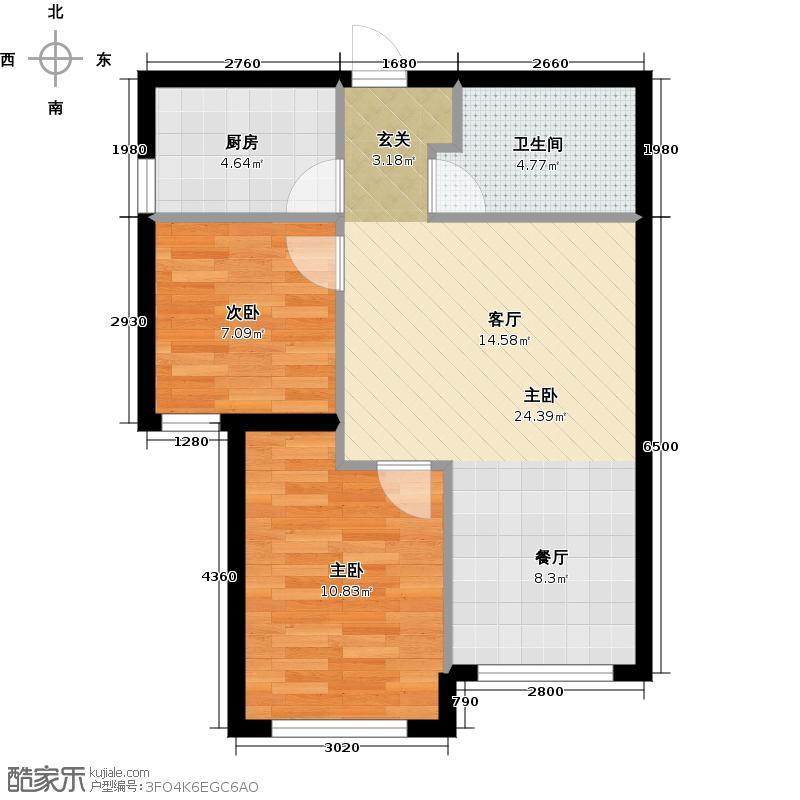 华润置地广场73.00㎡二期G户型 73平米两室两厅一卫户型图户型2室2厅1卫