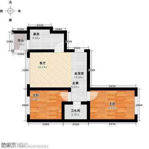 罗马公元2室0厅1卫1厨59.00㎡户型图