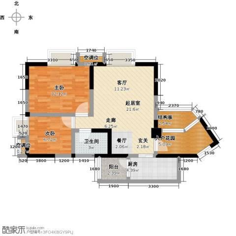 瑞麟国际新城2室0厅1卫1厨77.00㎡户型图