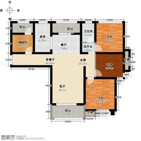 中锐星尚城3室1厅1卫1厨119.00㎡户型图
