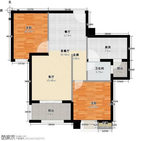 中锐星尚城2室1厅1卫1厨90.00㎡户型图