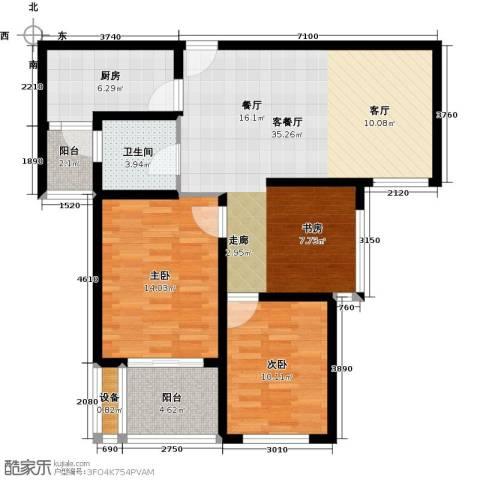 扬州国际公馆2室1厅1卫1厨111.00㎡户型图