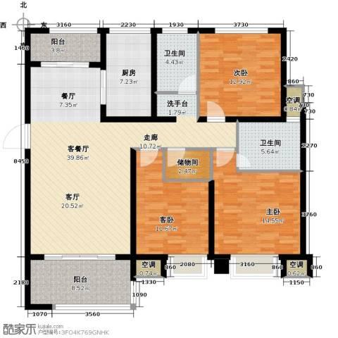 中锐星尚城3室1厅2卫1厨129.00㎡户型图