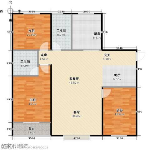 丽景盛园3室1厅2卫1厨120.00㎡户型图