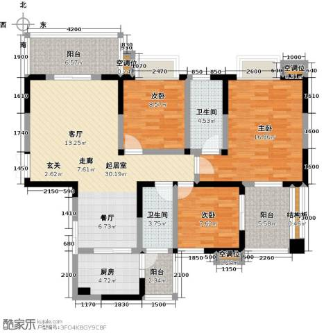 瑞麟国际新城3室0厅2卫1厨116.00㎡户型图