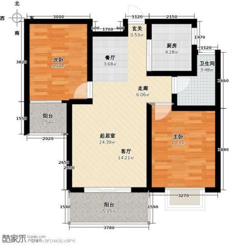 曲江・国风世家2室0厅1卫1厨86.00㎡户型图