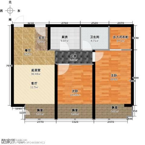 中信海港城2室0厅1卫1厨86.00㎡户型图