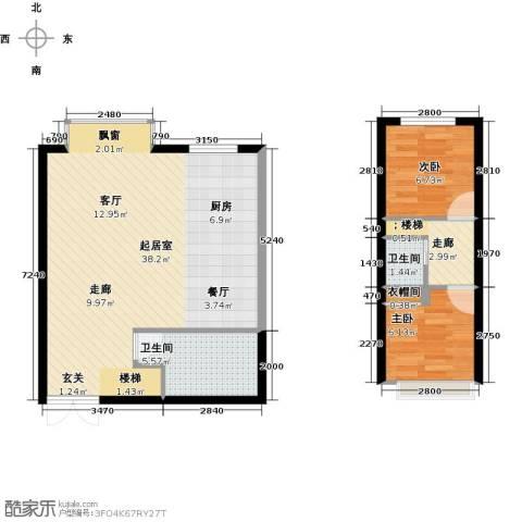 青云景苑2室0厅2卫0厨61.45㎡户型图