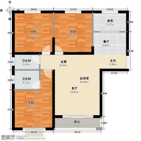 青云景苑3室0厅2卫1厨127.00㎡户型图