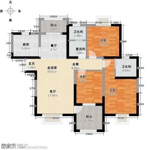 曲江观山悦3室0厅2卫1厨128.00㎡户型图