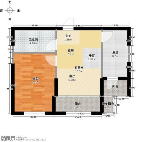 鼎力叶知林1室0厅1卫1厨64.00㎡户型图