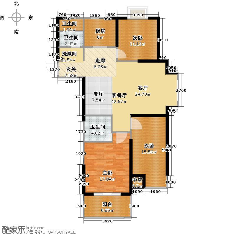 滨河新天地户型3室1厅3卫1厨