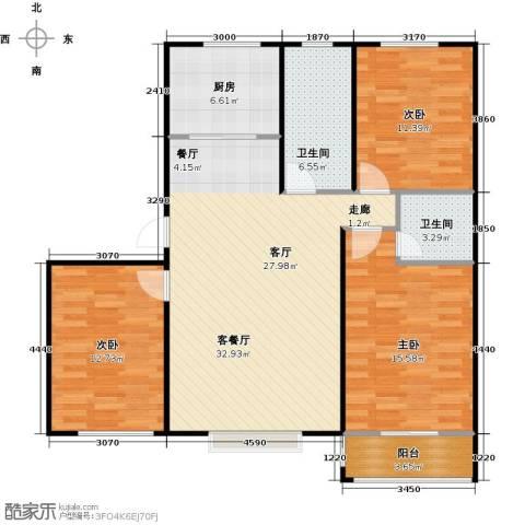 丽景盛园3室1厅2卫1厨124.00㎡户型图