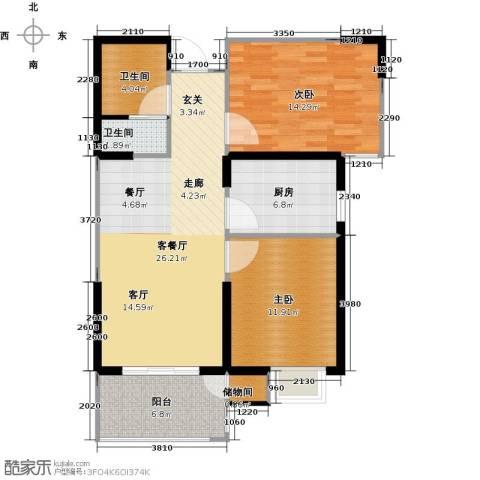 滨河新天地2室1厅2卫1厨101.00㎡户型图