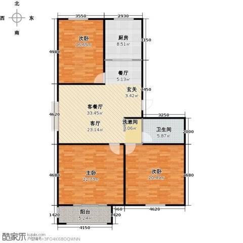 丽景盛园3室1厅1卫1厨121.00㎡户型图