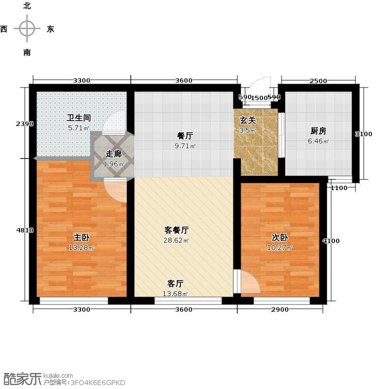 大连中航国际广场88.00㎡88平米两室两厅一卫户型图户型2室2厅1卫