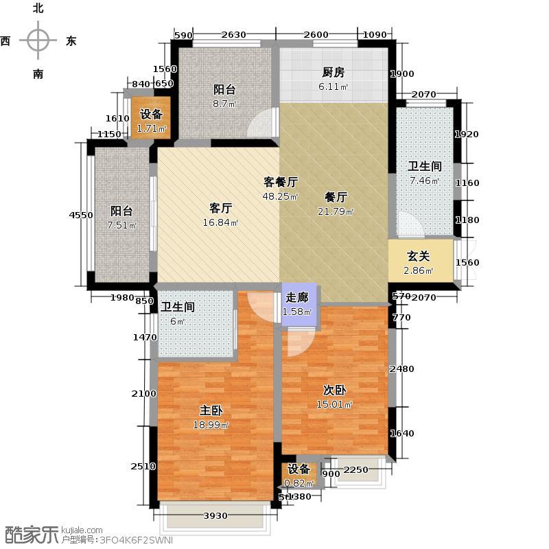绿洲天逸城128.09㎡1#、2#、3#高层A户型2室2厅2卫