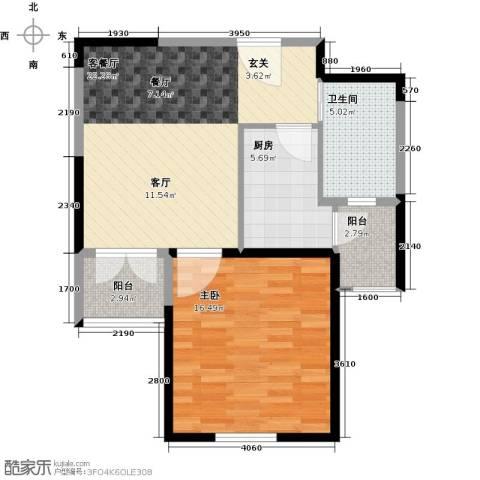 天保月湾1室1厅1卫1厨62.00㎡户型图