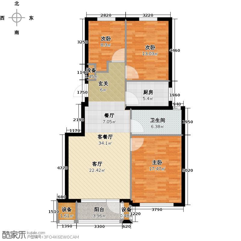 鹏德同心园102.45㎡三室两厅一卫102.45平米户型图户型3室2厅1卫