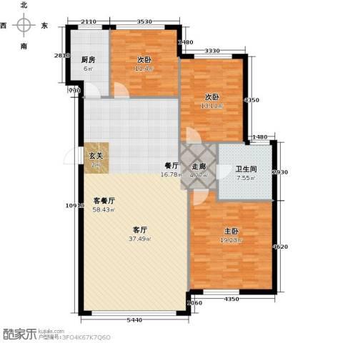 华都文郡3室1厅1卫1厨126.00㎡户型图