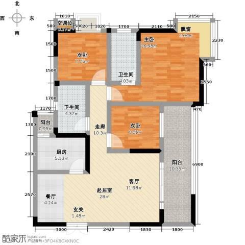 瑞麟国际新城3室0厅2卫1厨109.00㎡户型图